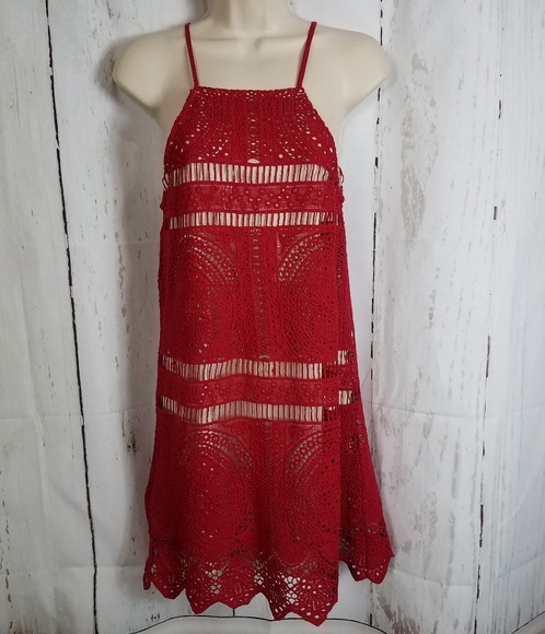 e3a0e4b203c4 Francesca's Collections Dresses | Francescas Xs Red Crocheted Dress ...